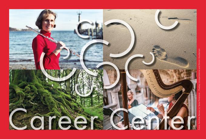 Collage Karoline Renner am Meer, Fussspuren im Sand, bemooste Baumwurzeln, Harfenistin