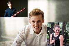 Photocollage Gianotti mit Fagott, Hörmann mit Oboe und Flieder