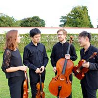 Mitglieder des Simply Quartetts in Konzertkleidung mit Instrumenten im Garten des Schloss Belvedere