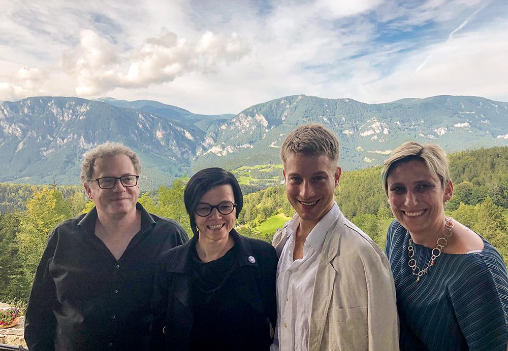 Das vierköpfige Leitungsteam der isaScience seit 2018, Fritz Trümpi, Rosa Reitsamer, Marko Kölbl, Dagmar Abfalter (von links nach rechts).
