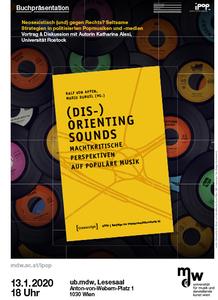 Plakat: Buchpräsentation: (Dis-)Orienting Sounds - Machtkritische Perspektiven auf Populäre Musik 2020