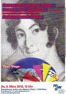 Plakat: Franziska Vögele Itzig - Fanny Arnstein: Von der Saloniére & Inspiratorin zur Zukunft der mdw 2018