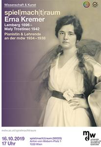 Plakat zur Veranstaltung mit einem Porträt der Pianistin Erna Kremer