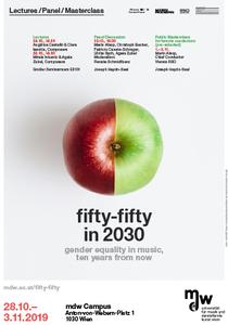 Plakat zur Veranstaltung: Sujet eines Apfels mit einer Hälfte grün und einer Hälfte rot