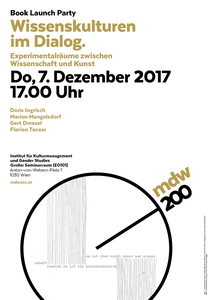 Jubiläumsplakat: Book Launch Party: Wissenskulturen im Dialog - Experimentalräume zwischen Wissenschaft und Kunst 2017