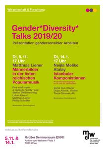 Ankündigungsflyer der Gender*Diversity*Talks im Wintersemester 2019/20