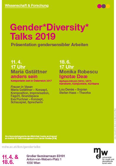 Ankündigungsflyer zu Gender*Diversity*Talks der mdw im Sommersemester 2019