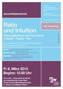 Plakat zur Buchpräsentation: Ratio und Intuition - Wissen|s|Kulturen und Geschlecht in Musik Theater Film