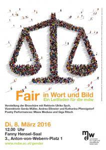 Plakat: Fair in Wort und Bild - Ein Leitfaden für die mdw 2016