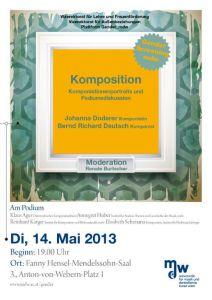 Plakat: Komposition - KomponistInnenportraits und Podiumsdiskussion