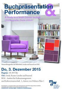 Plakat: Buchpräsentation & Performance - A body is a brain boom tschak 2015
