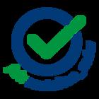 internes Gütesiegel der mdw für nachhaltige Veranstaltungen.  blauer Kreis mit einem grünen Hakerl sowie der Schriftzug fairanstalten_mdw