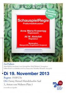 Plakat: SchauspielRegie Podiumsdiskussion mit Anna Maria Krassnigg und Ali M. Abdullah
