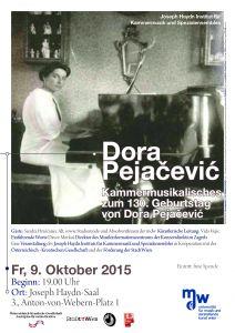 Plakat: Dora Pejacevic - Kammermusikalisches zum 130. Geburtstag von Dora Pejacevic 2015
