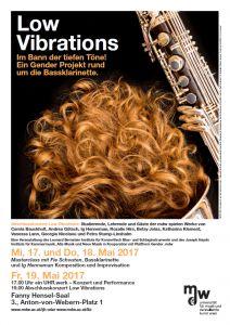 Plakat: Low Vibrations - Im Bann der tiefen Töne! Ein Gender Projekt rund um die Bassklarinette 2017