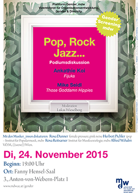 Plakat: Pop, Rock, Jazz... - Podiumsdiskussion mit Ankathie Koi und Mike Seidl 2015