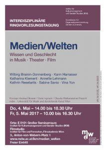 Plakat: Interdisziplinäre Ringvorlesungstagung - Medien/Welten 2017
