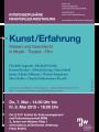 Plakat: interdisziplinäre Ringvorlesung - Kunst/Erfahrung 2015