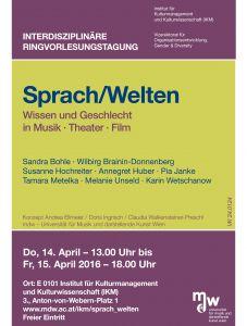 Plakat: Interdisziplinäre Rinvorlesungstagung - Sprach/Welten 2016