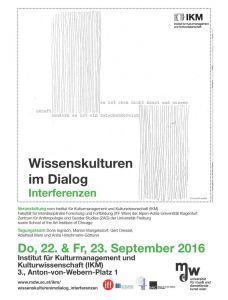 Plakat: Wissenskulturen Dialog - Interferenzen 2016