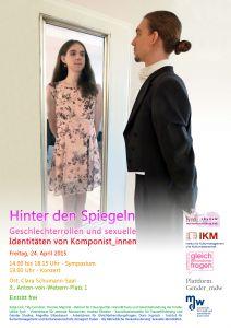 Plakat: Hinter den Spiegeln - Geschlechterrollen und sexuelle Identitäten von Komponist*innen 2015