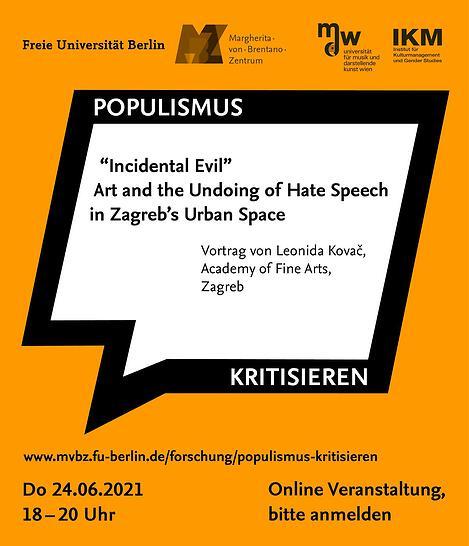 Ankündigungsplakat: Populismus kritisieren Online-Vortrag am 24.6.2021