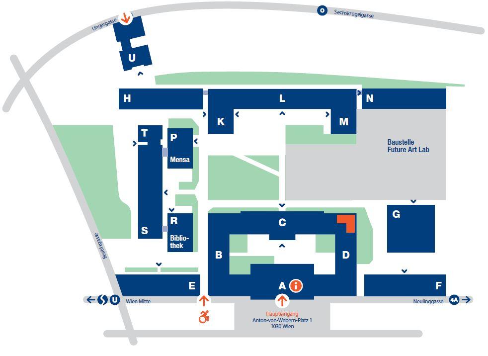 Standortplan Anton Bruckner Institut