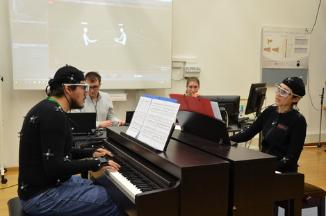 Piano Duo with Motion Capture and Eye Tracking combined