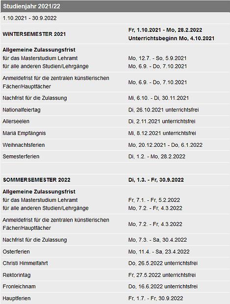 Die allgemeinen Daten/Termine des zweiten Studienjahrabschnitts 2021/22, zu finden auf der mdw-Website unter https://www.mdw.ac.at/1517/