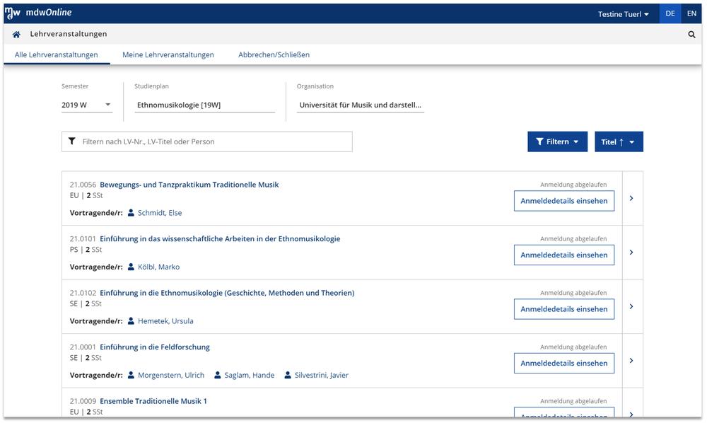 Screenshot neue Übersichtsseite von Lehrveranstaltungen