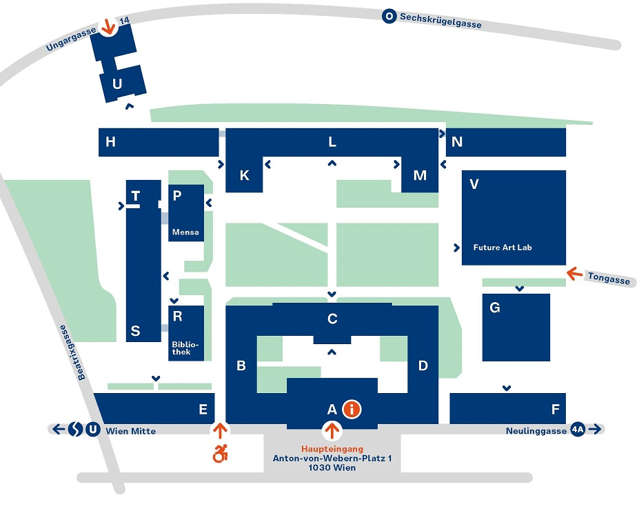 Campusplan mdw Anton von Webern Platz