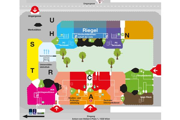Gebäudeplan der mdw